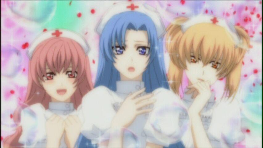 Princess Princess: Mikoto, Kouno, and Yuujiro as Nurses